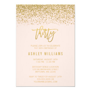 Modern 30th birthday invitations zazzle modern blush pink faux gold glitter 30th birthday invitation filmwisefo