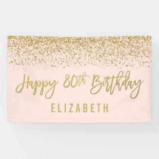 Modern Blush Pink Faux Gold Glitter 80th Birthday Banner