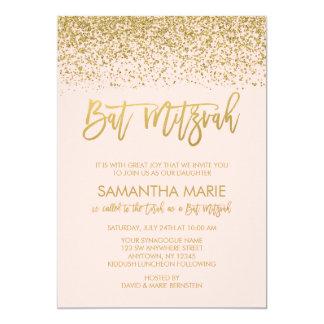 Modern Blush Pink Faux Gold Glitter Bat Mitzvah Card