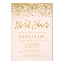 Modern Blush Pink Faux Gold Glitter Bridal Shower Card