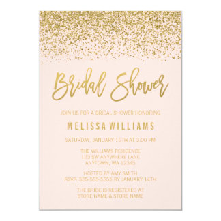 modern blush pink faux gold glitter bridal shower card - Blush Wedding Invitations