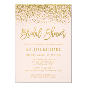 Glitter bridal shower invitations zazzle modern blush pink faux gold glitter bridal shower invitation filmwisefo