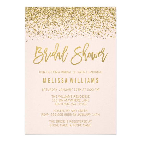 modern blush pink faux gold glitter bridal shower invitation