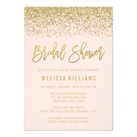 Modern blush pink faux gold glitter bridal shower invitation modern blush pink faux gold glitter bridal shower invitation filmwisefo