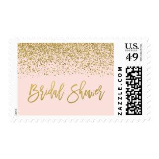 Modern Blush Pink Faux Gold Glitter Bridal Shower Postage