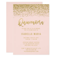 Modern Blush Pink Faux Gold Glitter Quinceanera Invitation