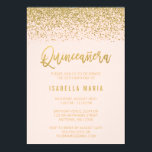 "Modern Blush Pink Faux Gold Glitter Quinceanera Invitation<br><div class=""desc"">Glamorous blush pink and faux gold glitter Quinceanera 15th Birthday invitations. Designs are flat printed illustrations/graphics - NOT ACTUAL GOLD GLITTER.</div>"