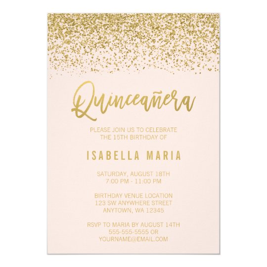 modern blush pink faux gold glitter quinceanera invitation zazzle com