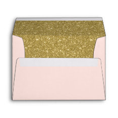 Modern Blush Pink Faux Gold Glitter Return Address Envelope at Zazzle