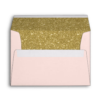 Modern Blush Pink Faux Gold Glitter Return Address Envelope