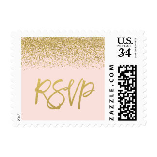 Modern Blush Pink Faux Gold Glitter RSVP Postage