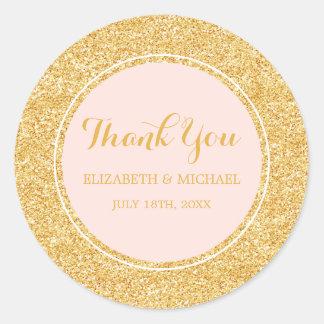 Modern Blush Pink Faux Gold Glitter Wedding Classic Round Sticker