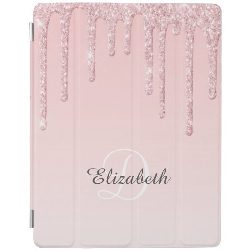 Modern Blush Pink Girly Glitter Personalized iPad Smart Cover