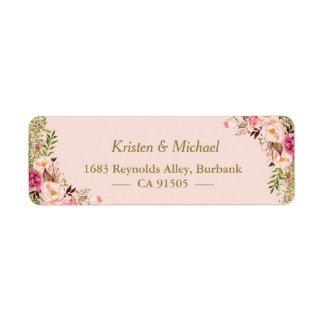 Modern Blush Pink Gold Glitter Floral Label