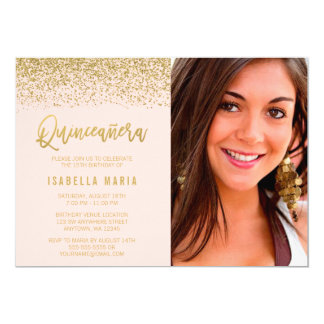 Modern Blush Pink Gold Glitter Quinceanera Photo Card