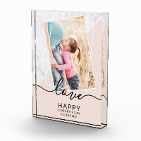 Modern blush pink marble block mother's day photo