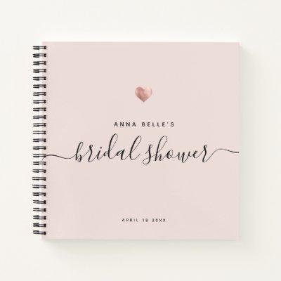 Modern Blush Pink Rose Gold Script Bridal Shower Notebook