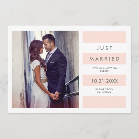 Modern Blush Pink Stripes | Just Married Photo Announcement