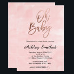 "Modern blush pink watercolor chic Oh baby shower Invitation<br><div class=""desc"">Modern blush pink watercolor chic Oh baby typography baby shower invitation</div>"