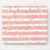 Modern blush pink watercolor stripes gold confetti mouse pad