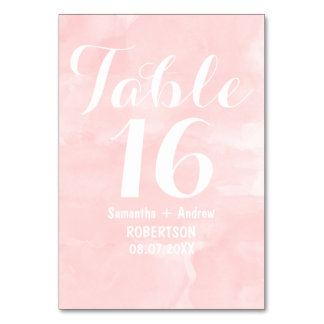 Modern blush pink watercolor table number table cards
