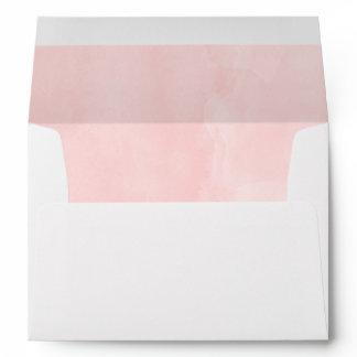 Modern blush pink watercolor wedding envelope