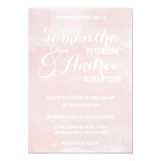 Modern blush pink watercolor Wedding 5x7 Paper Invitation Card