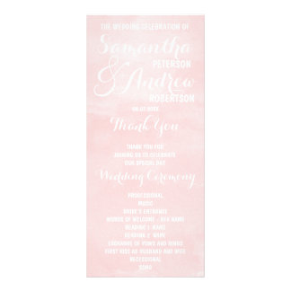 Modern blush pink watercolor Wedding Program Custom Rack Card