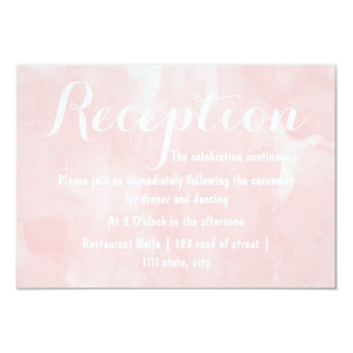 Modern blush pink watercolor wedding reception 3.5x5 paper invitation card