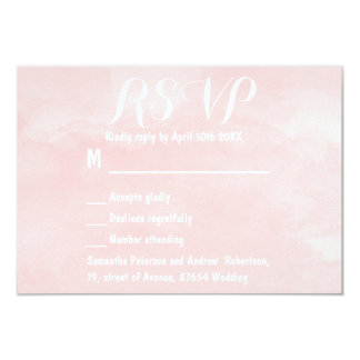Modern blush pink watercolor wedding RSVP 3.5x5 Paper Invitation Card