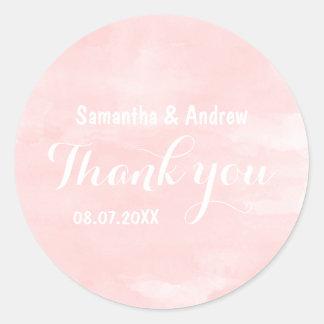 Modern blush pink watercolor wedding Thank you Classic Round Sticker