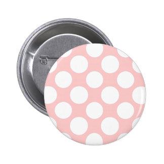 Modern Blush Pink White Polka Dots Pattern Button