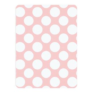 Modern Blush Pink White Polka Dots Pattern Card