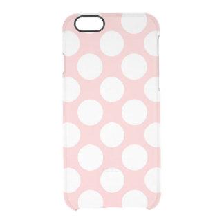 Modern Blush Pink White Polka Dots Pattern Clear iPhone 6/6S Case