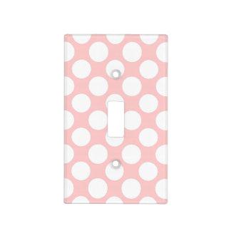 Modern Blush Pink White Polka Dots Pattern Light Switch Plates