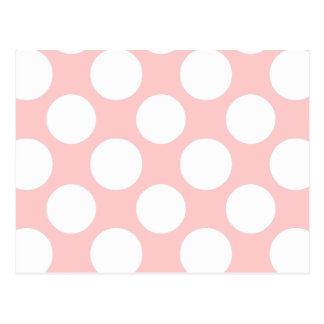 Modern Blush Pink White Polka Dots Pattern Postcard