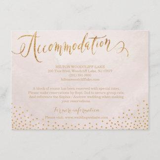 Modern blush rose gold calligraphy accommodation enclosure card