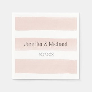 Modern Blush Stripes Cocktail Napkin