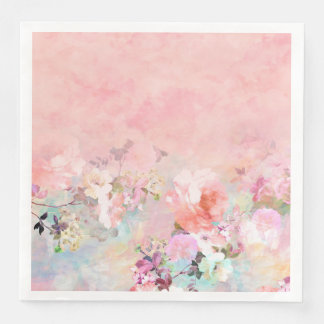 Modern blush watercolor ombre floral watercolor paper dinner napkin