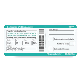 Modern Boarding Pass Destination Wedding Invites