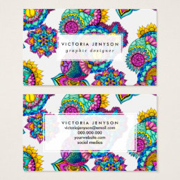 Modern boho floral watercolor mandala hand drawn business card