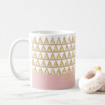 Modern Boho Gold Triangles Inspirational Saying Coffee Mug