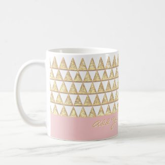 Modern Boho Gold Triangles Inspirational Saying