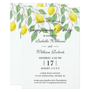 Modern Boho Lemon Summer Engagement Party Card