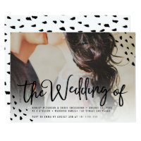 Modern boho photo polka dots typography wedding card