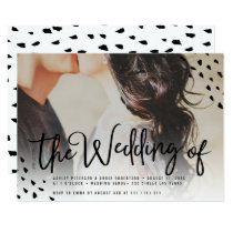 Modern boho photo polka dots typography wedding invitation