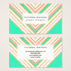 Modern Boho Pink Gold Turquoise Chevron Pattern Business Card at Zazzle