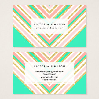 Modern boho pink gold turquoise chevron pattern business card