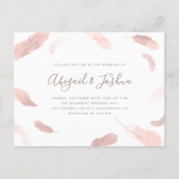 Modern Boho Pink Watercolor Feathers Wedding Invitation Postcard
