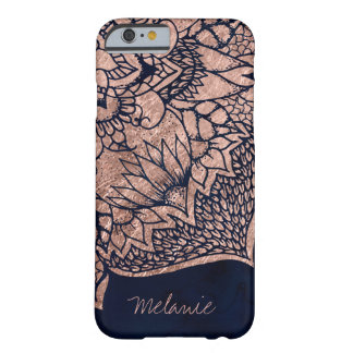 Modern boho rose gold floral mandala watercolor barely there iPhone 6 case